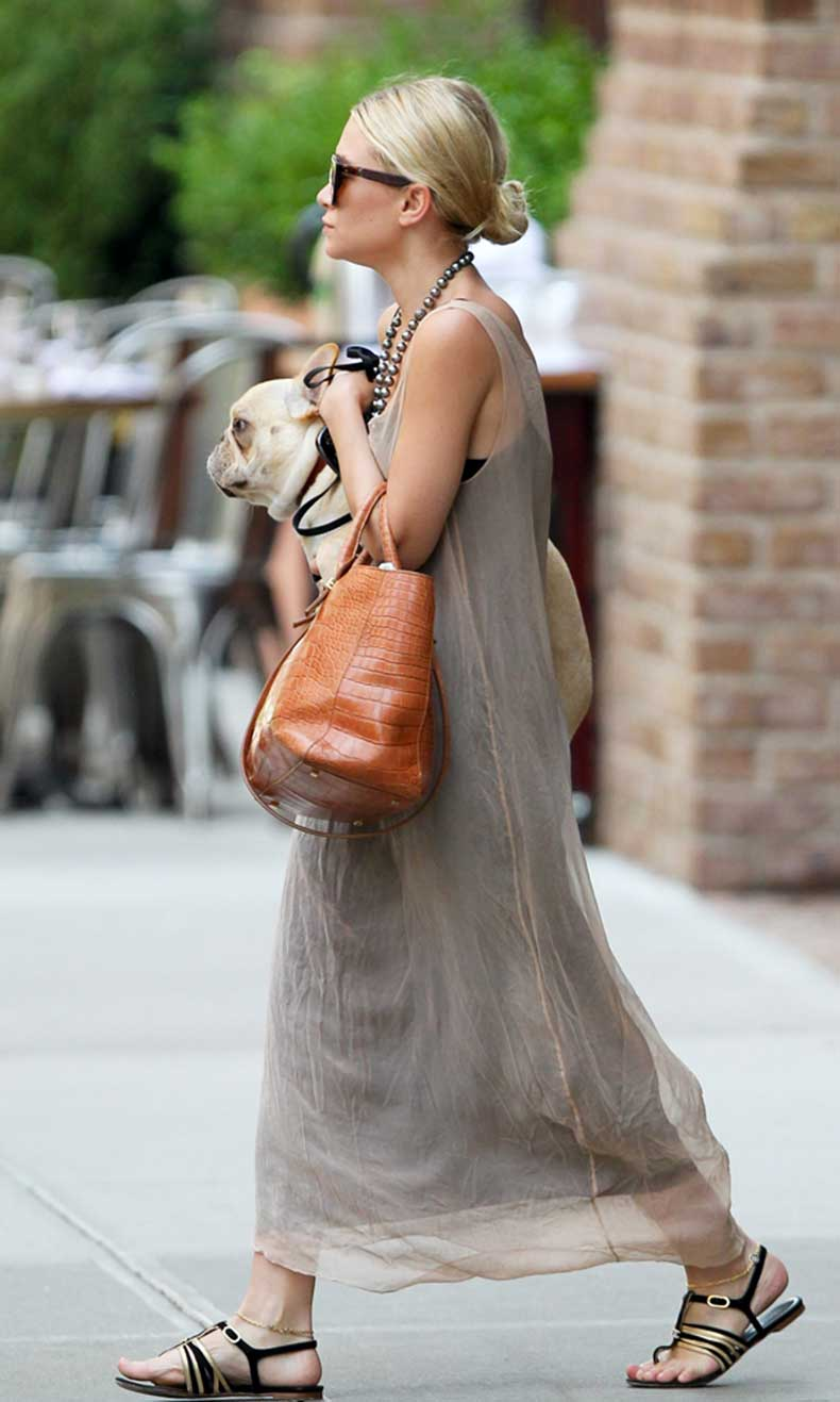 Olsens-Anonymous-Blog-Ashley-Olsen-7-Seven-Stylish-Shots-of-Ashley-With-Her-Dogs-Low-Bun-Linen-Dress-French-Bulldog-Sandals