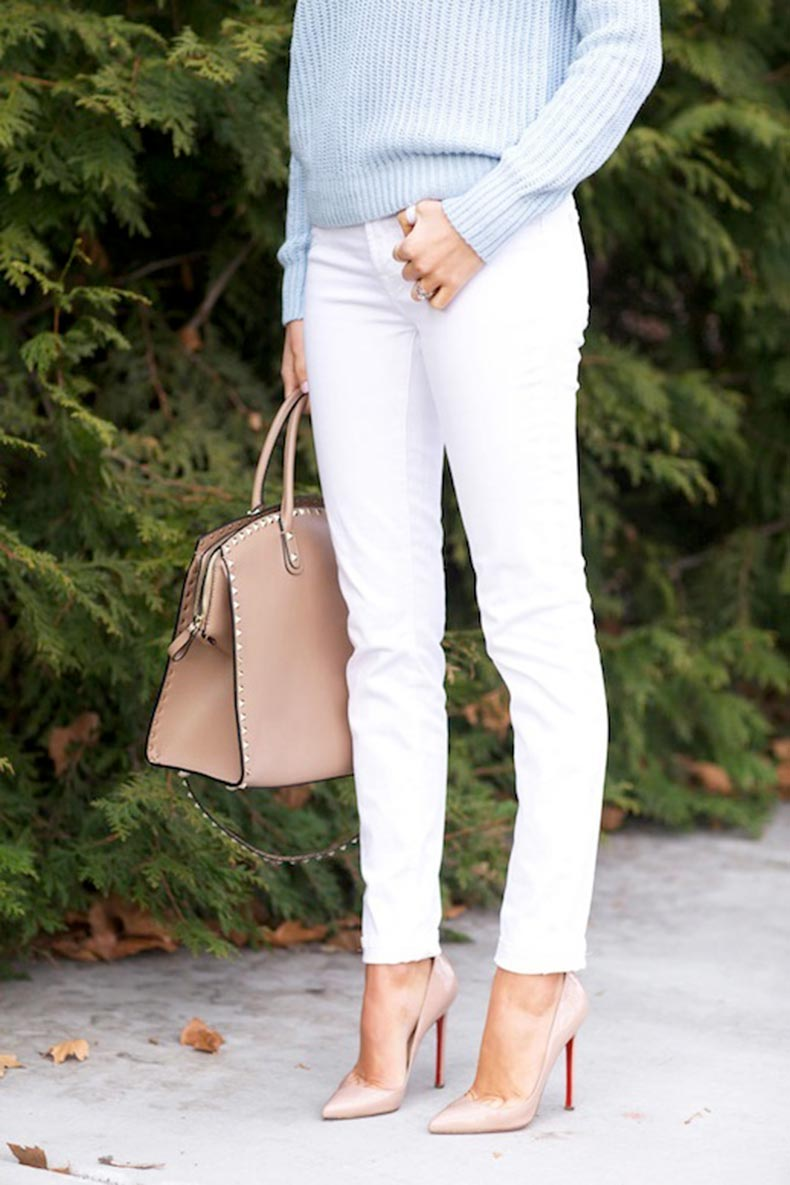 2-Le-Fashion-Blog-30-Fresh-Ways-To-Wear-White-Jeans-Blue-Sweater-Valentino-Bag-Nude-Pumps-Via-Pink-Peonies