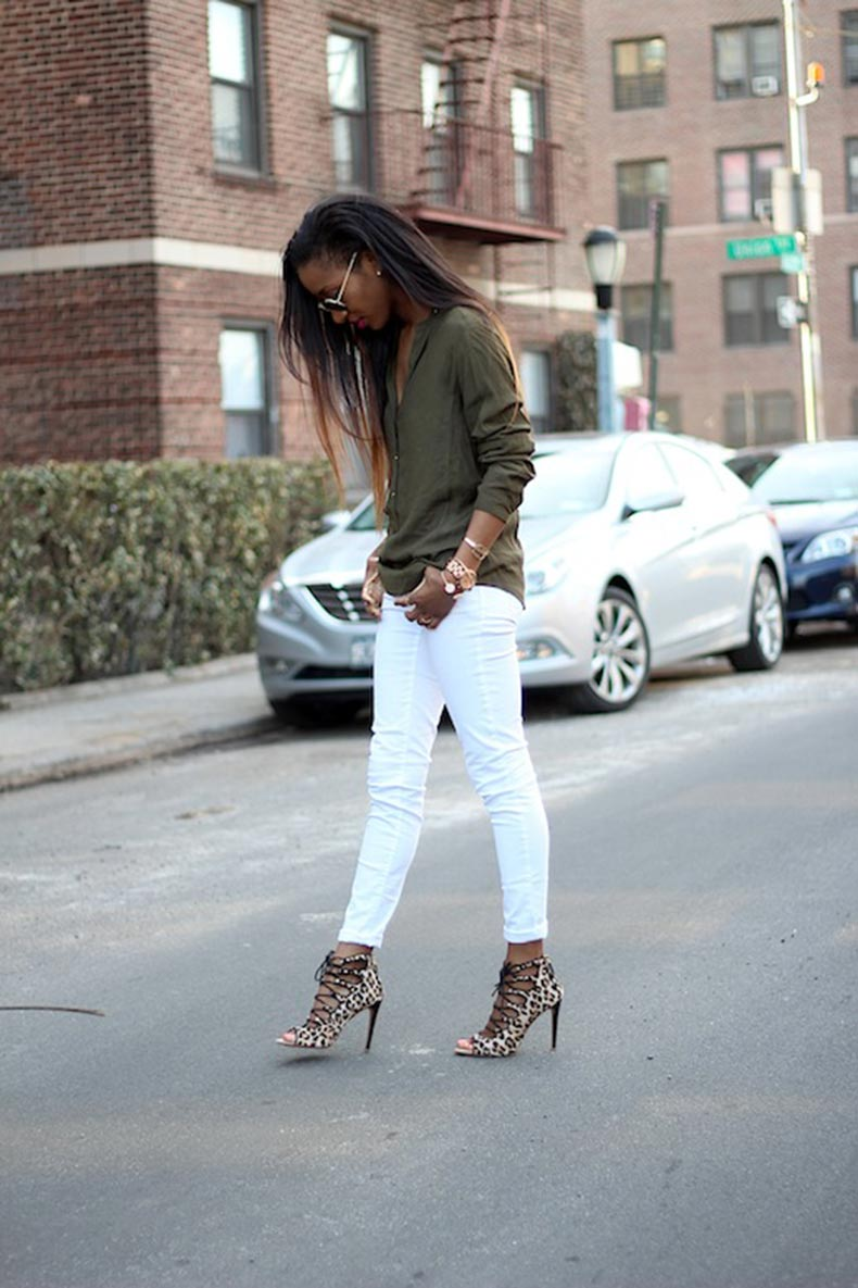 8-Le-Fashion-Blog-30-Fresh-Ways-To-Wear-White-Jeans-Green-Button-Down-Shirt-Leopard-Lace-Up-Heels-Style-Nina