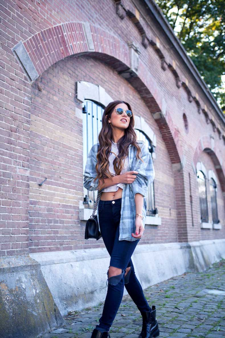 9-Le-Fashion-Blog-Long-Hair-Inspiration-Negin-Mirsalehi-Brunette-Brown-Wavy-Plaid-Shirt-Striped-Crop-Top-Ripped-Jeans