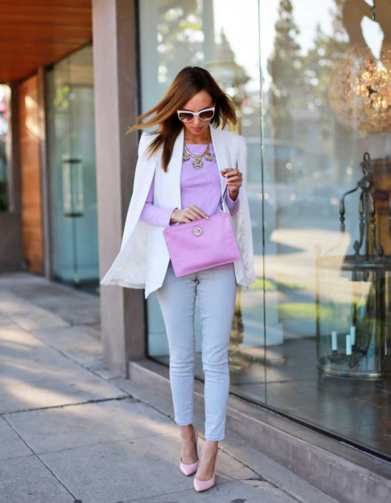 Sydne-Style-how-to-wear-a-cape-blazer-trend-white-jacket-lavender-pastels-for-fall-street-style-tous-clutch-gray-jeans