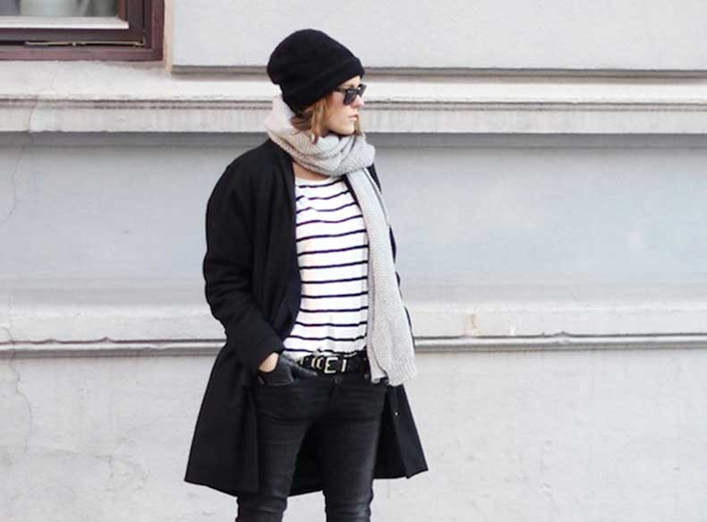 Le-Fashion-Blog-7-Ways-To-Wear-Stripes-In-Winter-Beanie-Hat-Grey-Scarf-Black-Coat-Striped-Top-Black-Jeans-Via-Sara-Strand