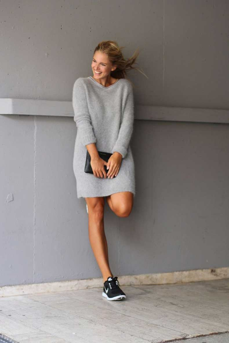 sweater-dress-outfits-pinterest-street-style---grey-mohair-sweater-dress-black-clutch-and-nike-dresses-gallery