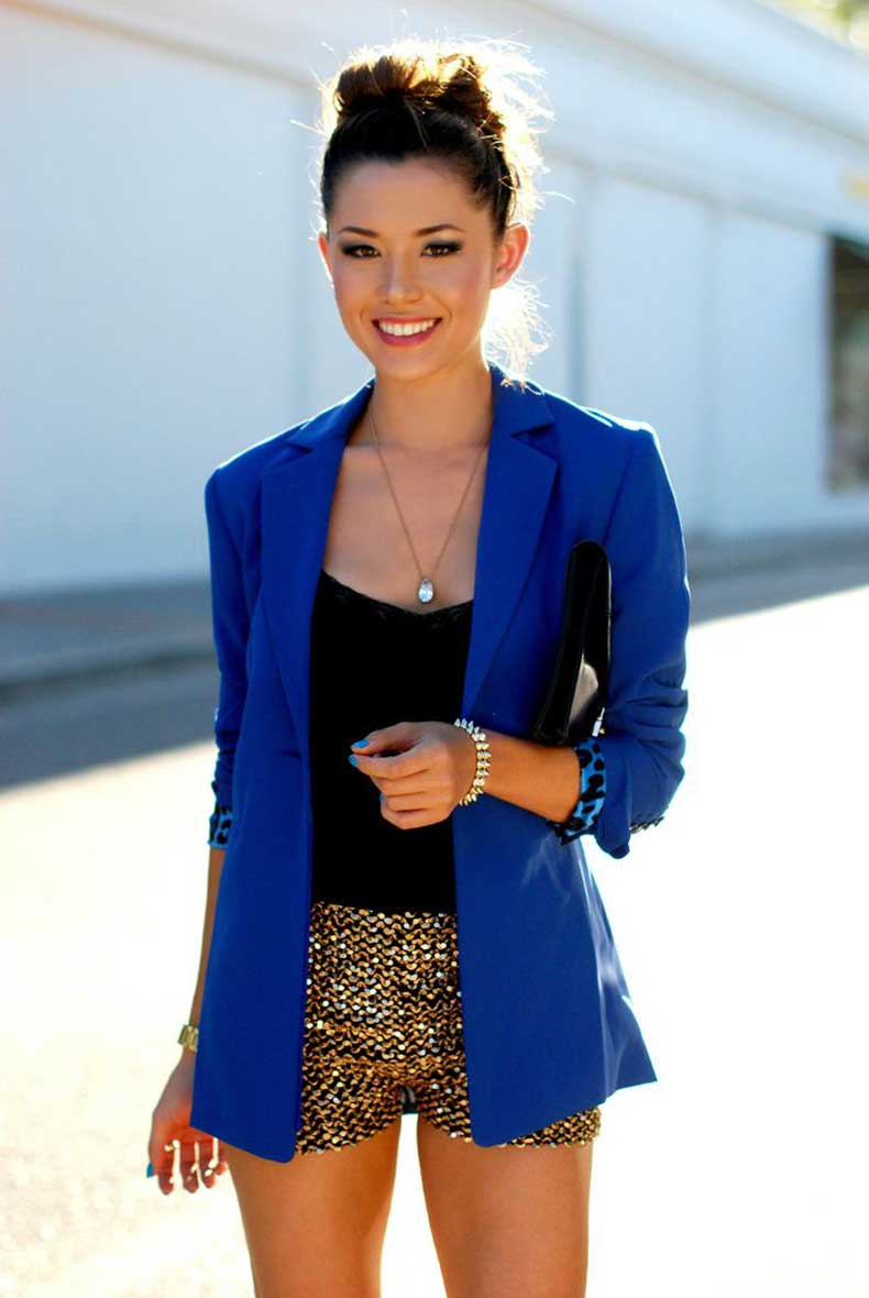 gold-shorts-and-cobalt-blazer