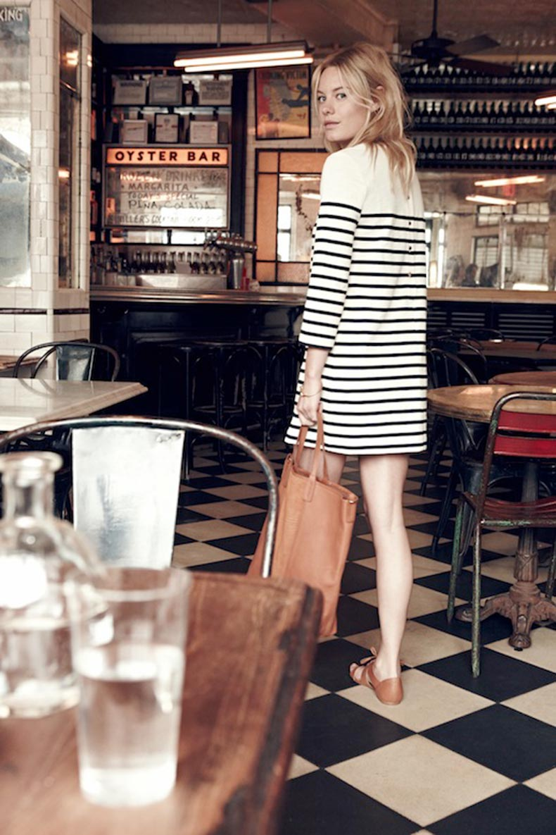 Le-Fashion-Blog-Madewell-Sezane-Lookbook-Camille-Rowe-Striped-Dress-Leather-Tote-Lace-Up-Sandals