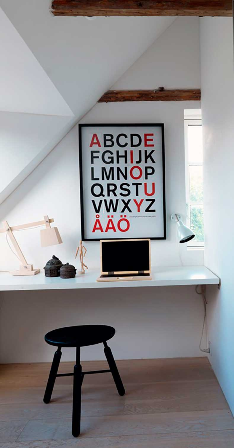 Danish-Loft-Apartment-Office-with-Norm-Architects-Stool,-Remodelista