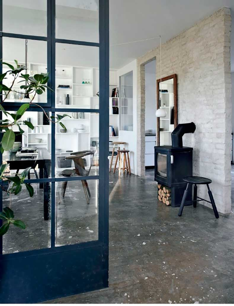 Open-Dining-Room-in-Denmark-Apartment-with-Concrete-Floors,-Remodelista