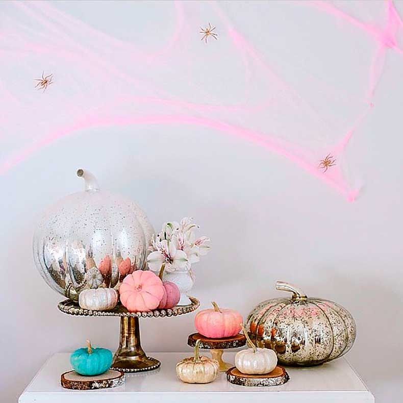 Pastel-pink-cobwebs-mercury-glass-pumpkins-all-we-can-say-about