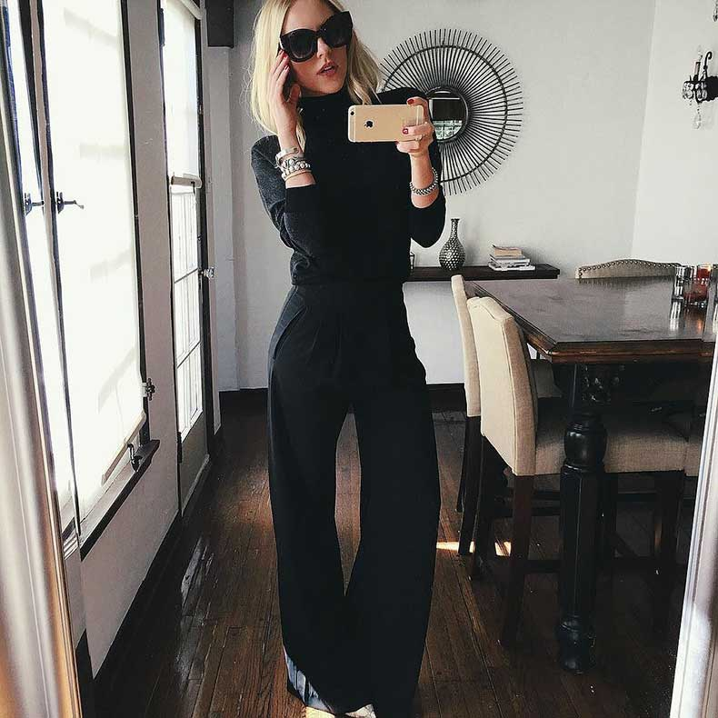 Turtleneck-Wide-Leg-Pants