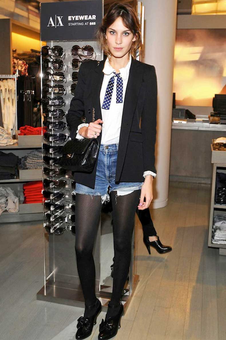 Denim shorts for winter - Google Search | Alexa Chung | Pinterest | Cutoffs Denim Shorts and Tights