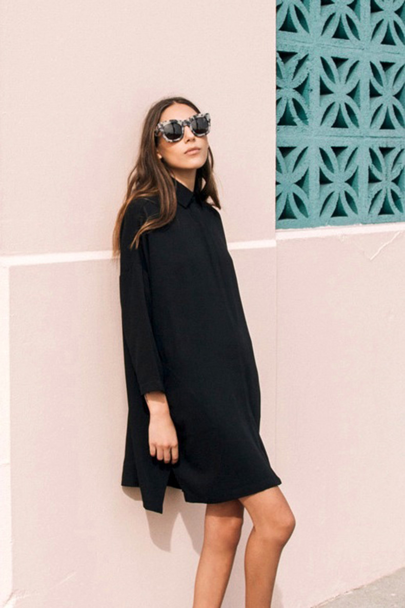 Le-Fashion-Blog-Easy-Style-Look-Oversized-Statement-Sunglasses-Illesteva-Tortoise-Hamilton-Black-Shirtdress-Long-Sombre-Hair-Pink-Wall-Via-The-Dreslyn