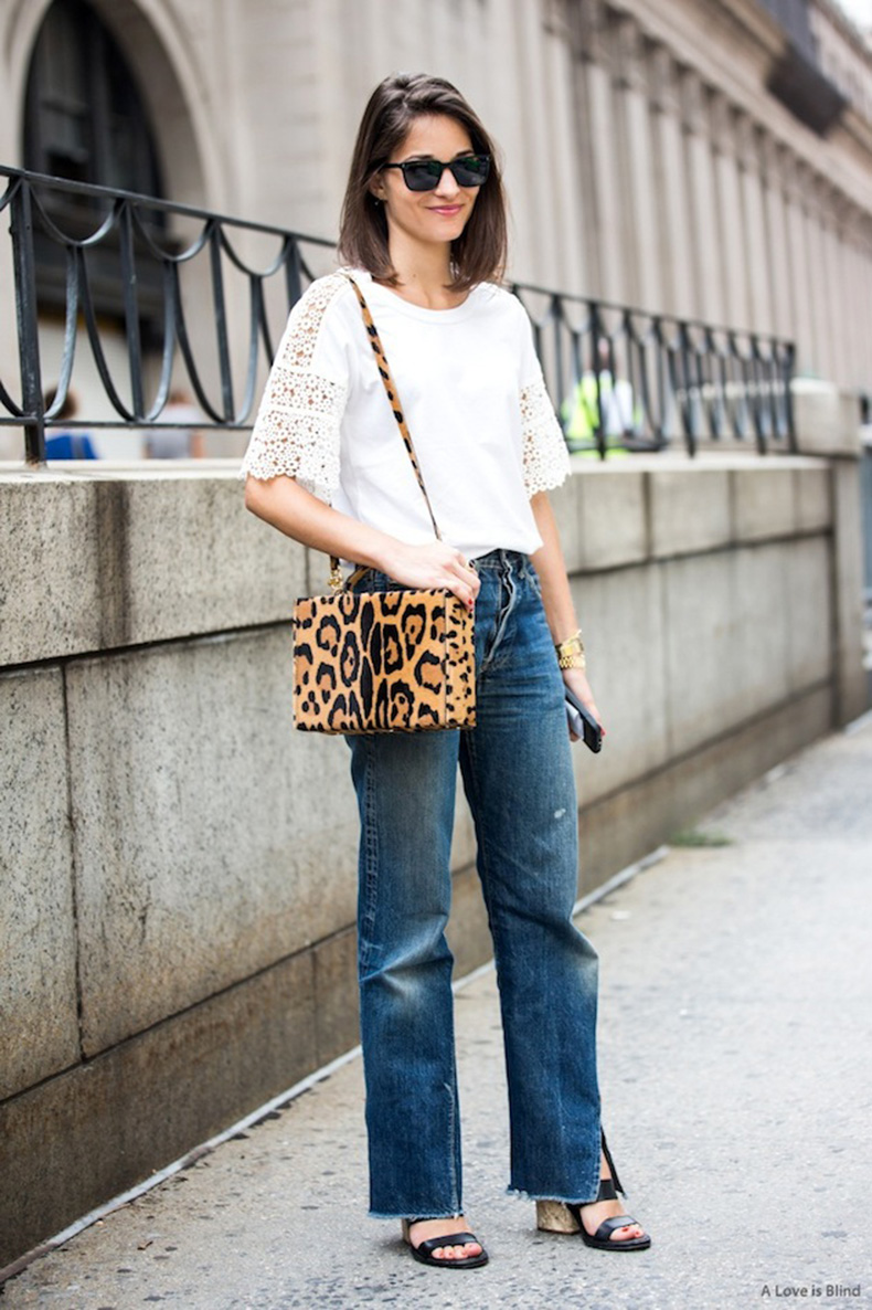 Le-Fashion-Blog-NYC-Street-Style-Maria-Duenas-Jacobs-Lace-Sleeve-Tee-Leopard-Print-Bag-Vintage-Jeans-Sandals-Spring-Style-Via-A-Love-Is-Blind