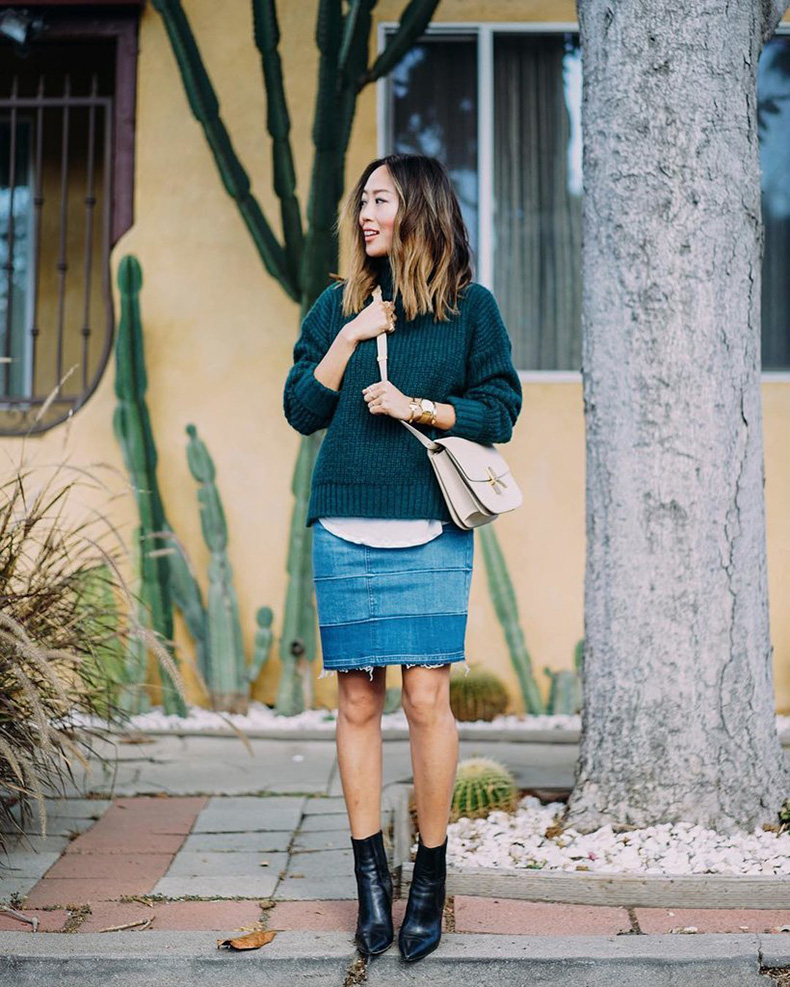 Heeled-Denim-Skirt