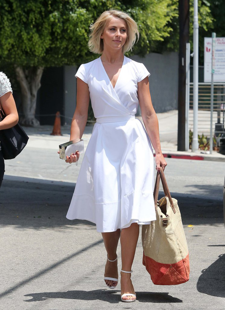 Julianne-Hough-vision-Summer-her-white-wrap-dress