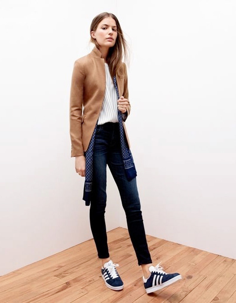 Le-Fashion-Blog-25-Ways-To-Wear-Adidas-Sneakers-Camel-Jacket-Stripes-Print-Scarf-Skinny-Jeans-Gazelle-Via-J-Crew