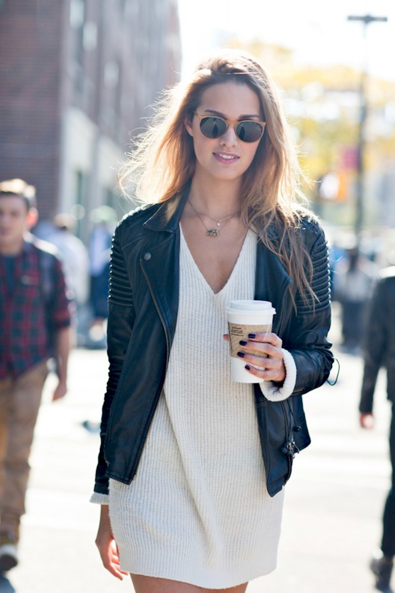 Le-Fashion-Blog-Model-Off-Duty-Street-Style-Cecelia-Singley-Round-Sunglasses-Leather-Jacket-Sweater-Dress-Via-Scott-Brasher-Studio