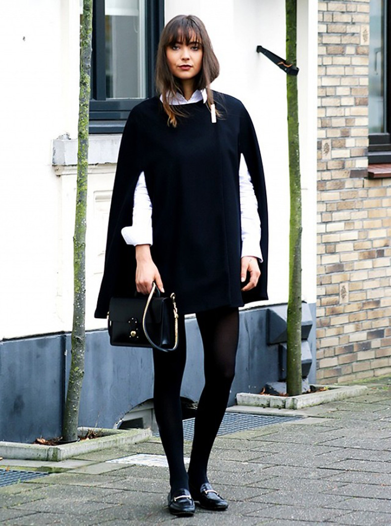 black-and-white-white-button-up-shirt-oxford-cape-black-tights-black-loafers-gucci-loafers-black-mini-skirt-via-made-of-amour