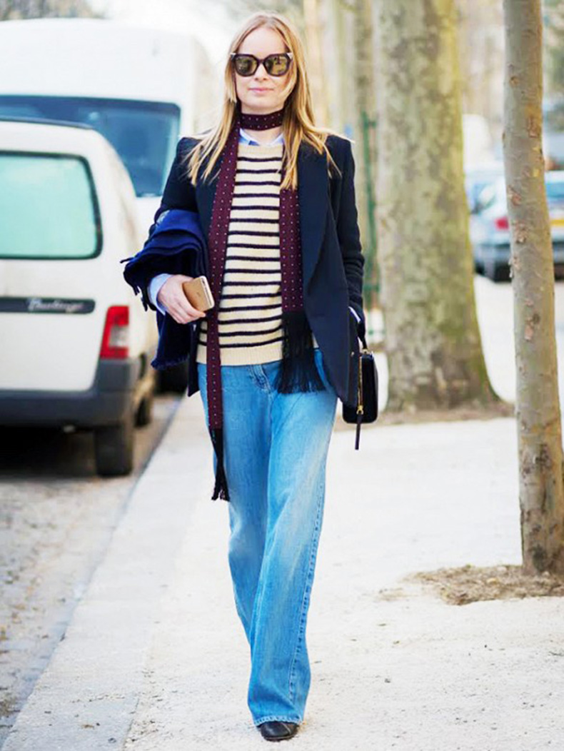 skinny-scarf-navy-blazer-stripes-wide-leg-jeans-weekend-preppy-classic-style-du-monde