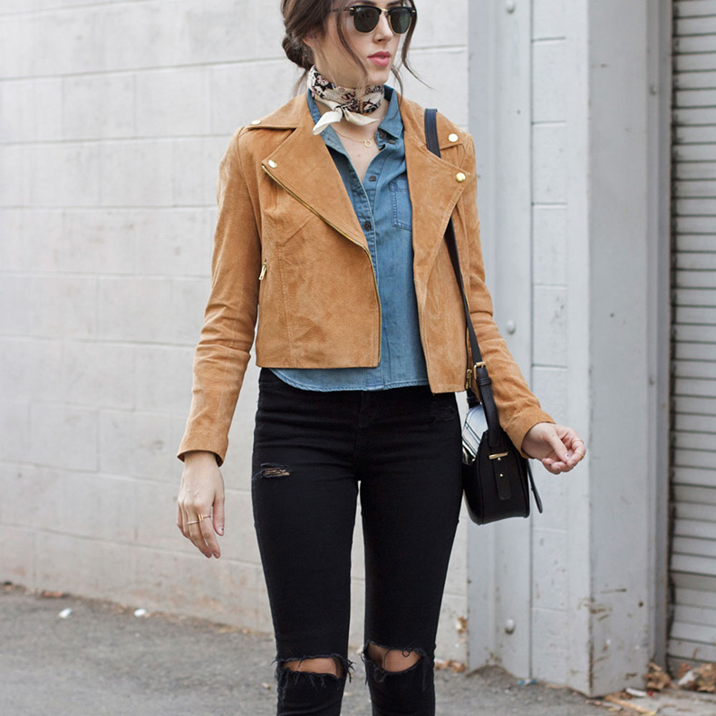 tan-suede-jacket-cropped-chambray-shirt-silky-scarf-black-jeans-(1)