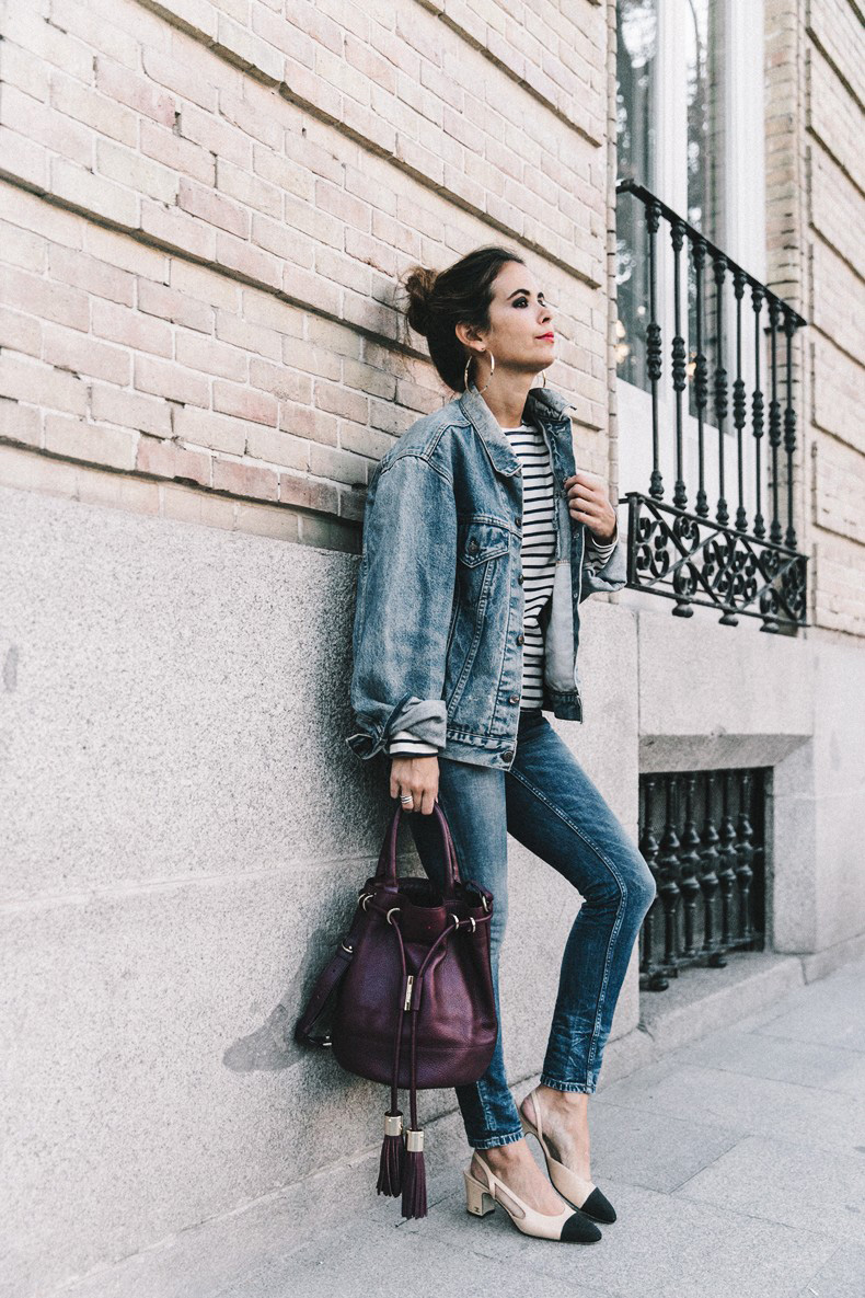 Double_Denim-Levis_Vintage-Skinny_Jeans-Striped_Top-See_By_Chloe_Bag-Chanel_Shoes-Outfit-Collage_Vintage-Street_Style-6-790x1185