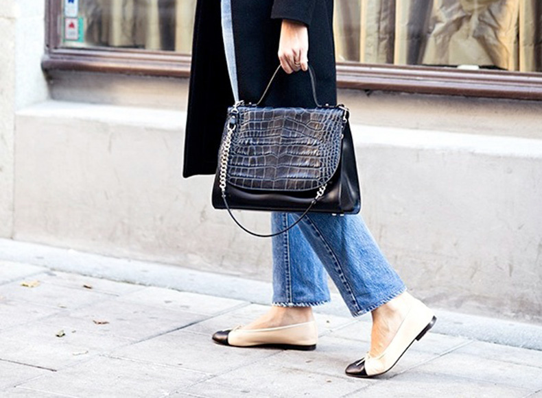 Le-Fashion-Blog-Street-Style-Classic-Cropped-Jeans-Chanel-Cap-Toe-Flats-Black-Coat-Croc-Effect-Satchel-Fall-Style-Via-Carolines-Mode