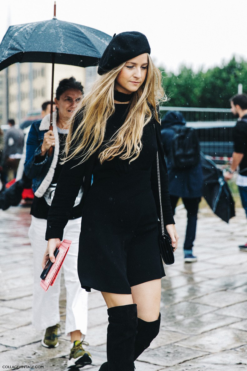MFW-Milan_Fashion_Week-Spring_Summer_2016-Street_Style-Say_Cheese-Gucci-Wool_Beret-Total_Black_Outfit-Over_The_Knee_Boots--790x1185