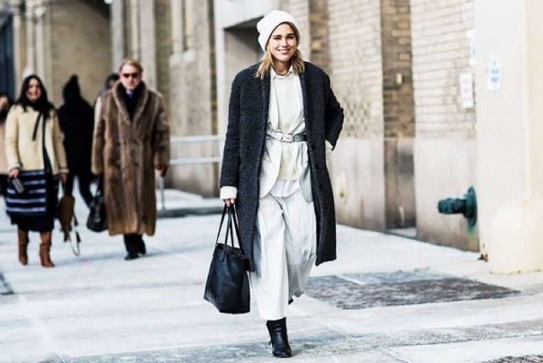 winter-whites-beanie-belted-jacket-winter-layering-cropped-culottes-pants-booties-grey-coat-winter-work-outfit-via-a-love-is-blind