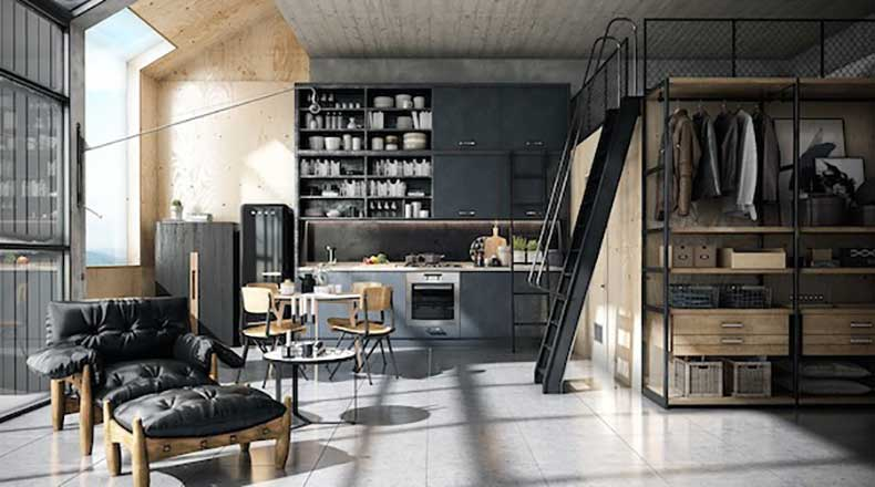 A-bright-loft-with-lots-of-plywood-and-black-tones1
