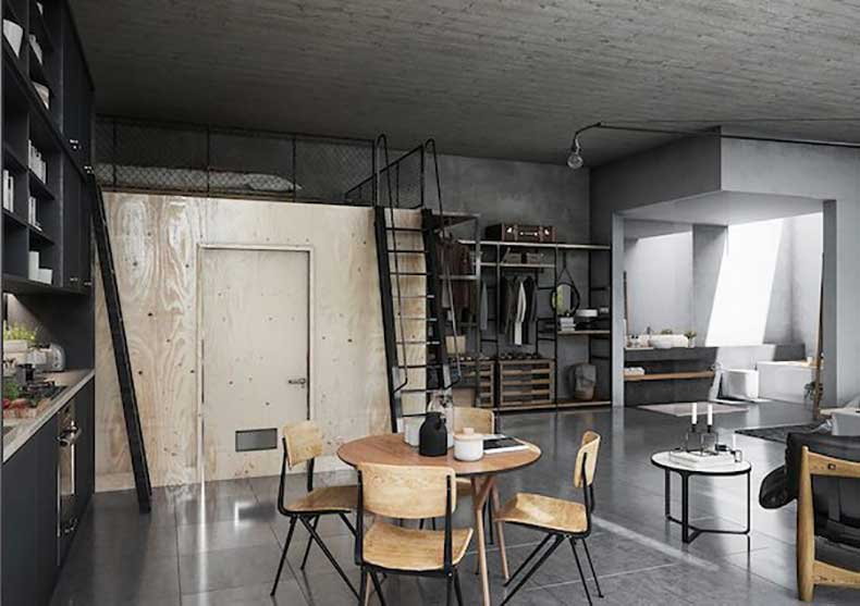 A-bright-loft-with-lots-of-plywood-and-black-tones5