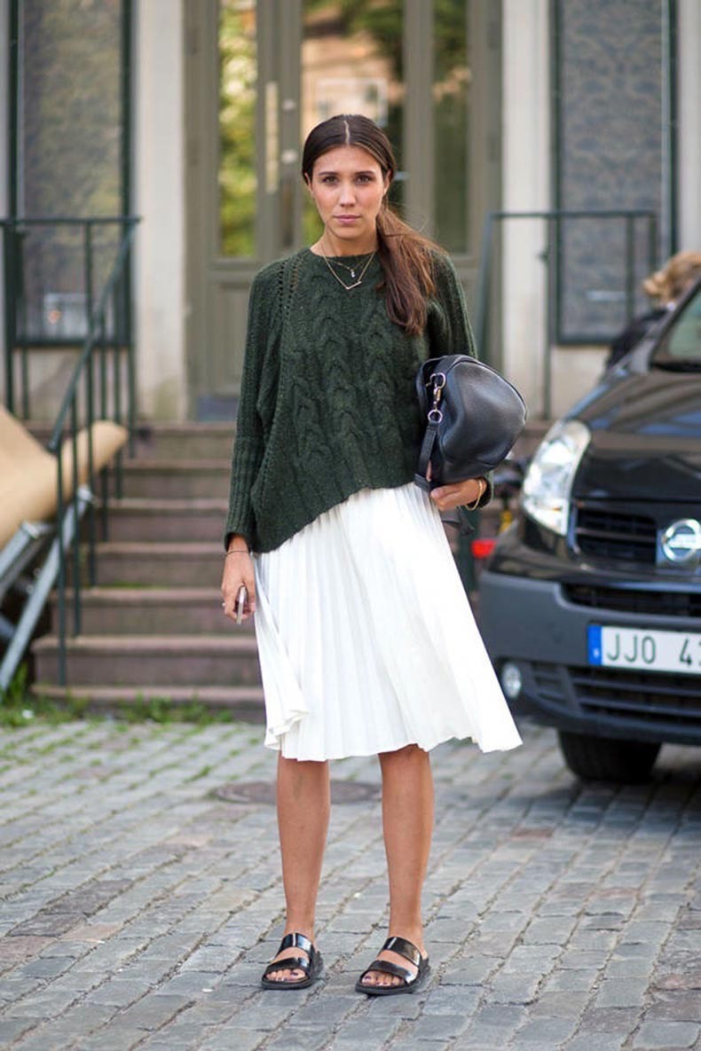 Le-Fashion-Blog-Cable-Knit-Sweater-Pleated-Skirt-Stockholm-Fashion-Week-Street-Style-Via-Harpers-Bazaar