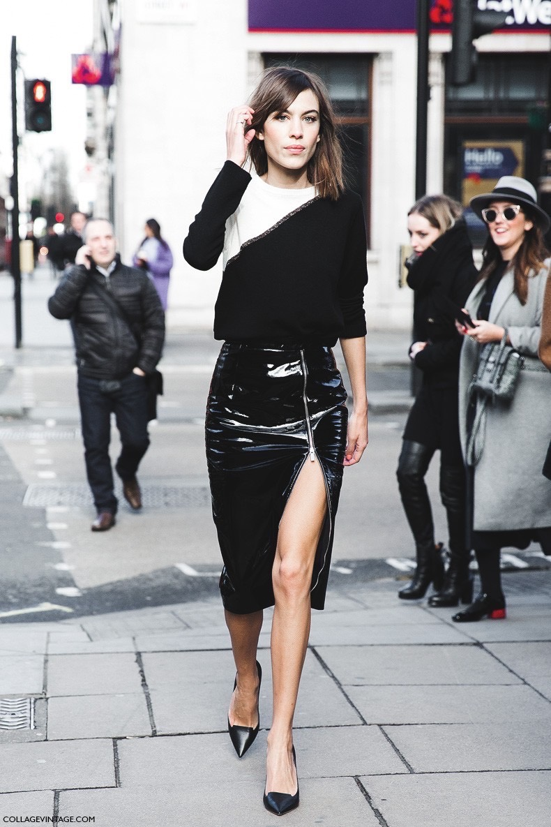 London_Fashion_Week_Fall_Winter_2015-Street_Style-LFW-Collage_Vintage-Alexa_Chung-Zipper_Pencil_Skirt-Black_And_White-8-790x1185