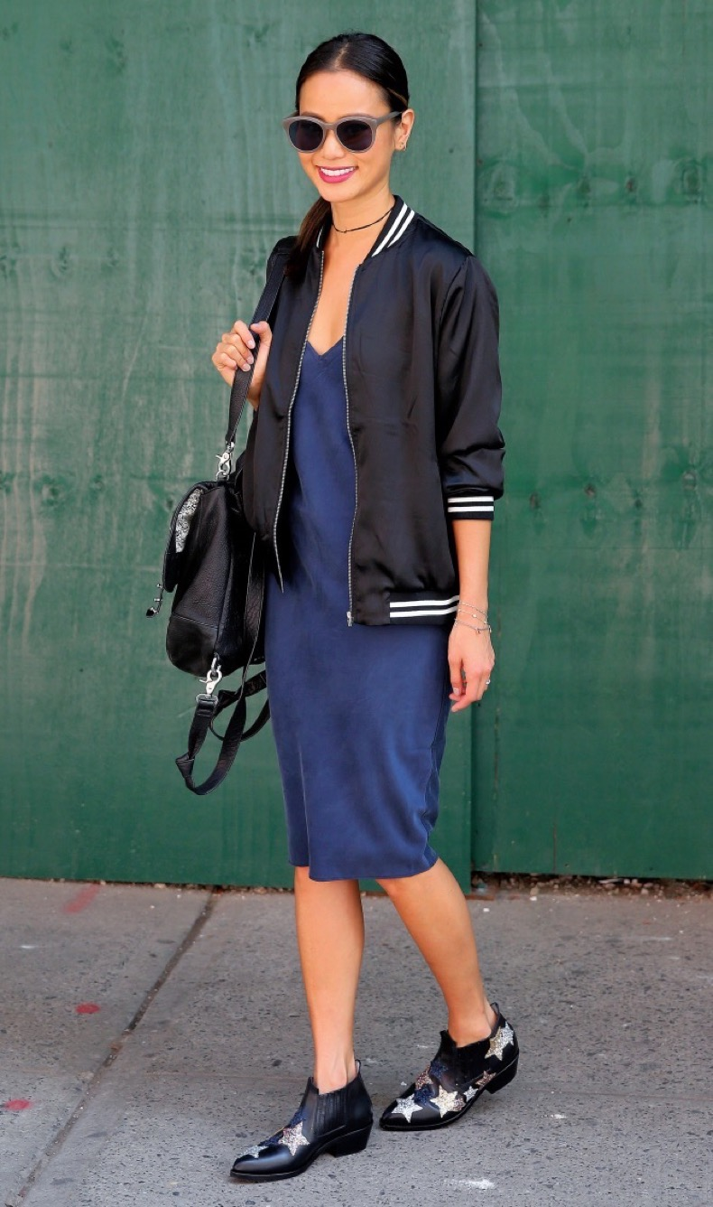 Actress Jamie Chung, wearing a blue slip dress, 'Good Vibes' jacket and star-spangled ankle boots, shops in Soho in New York City Pictured: Jamie Chung Ref: SPL1349389  080916   Picture by: Christopher Peterson/Splash News Splash News and Pictures Los Angeles:	310-821-2666 New York:	212-619-2666 London:	870-934-2666 photodesk@splashnews.com