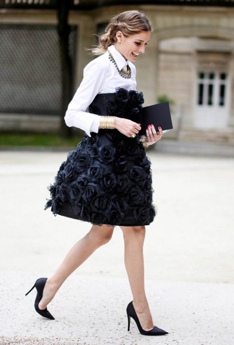 olivia-palermo-cocktail-dress-for-day-statement-necklace-ladylike-femme-black-and-white-nye-evening-party-going-out-night-out-via-lee-oliveira