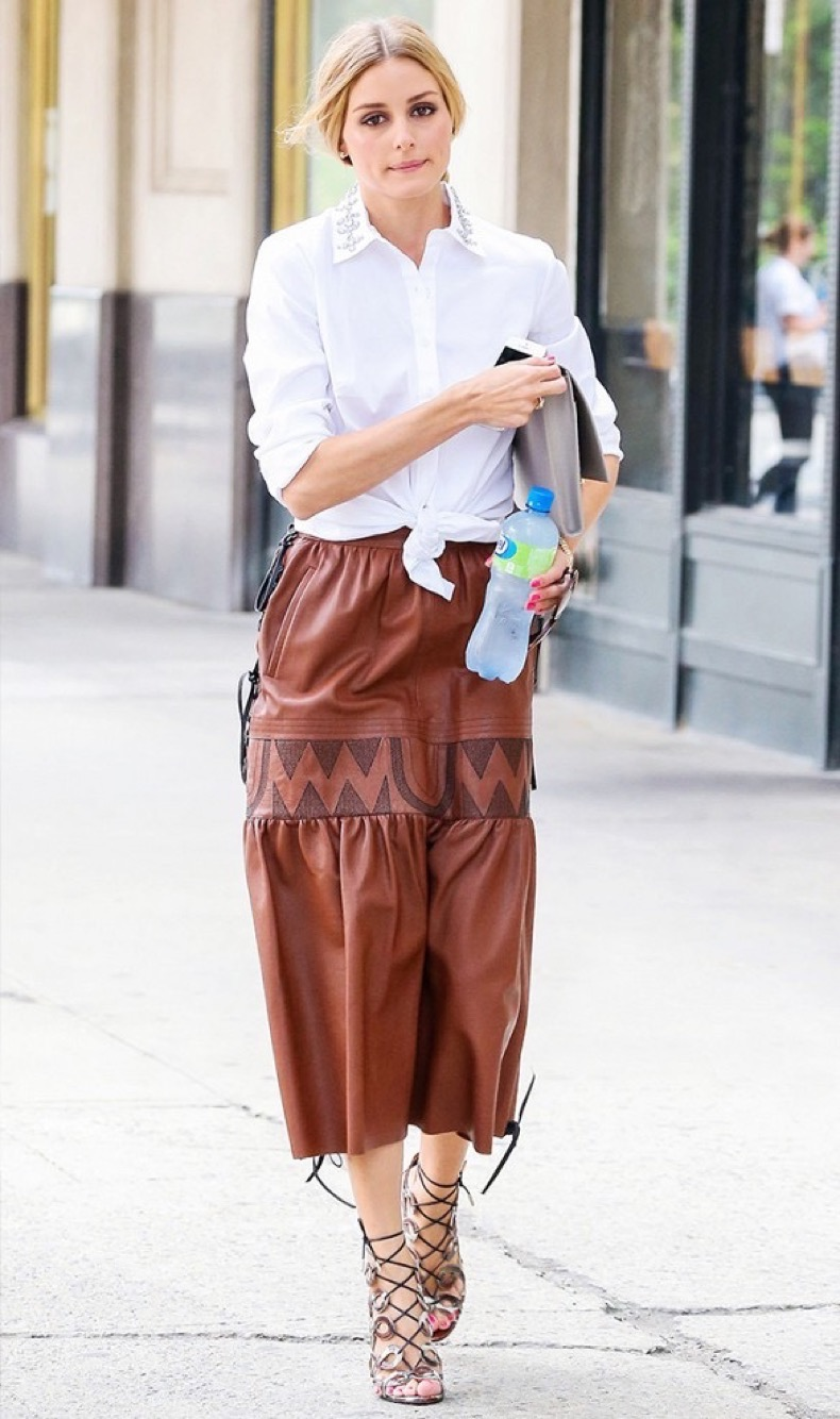 olivia-palermo-leather-midi-skirt-white-shirt-oxford-collared-shirt-knotted-shirt-sandals-lace-up-cage-sandals-work-summer-spring-via-www