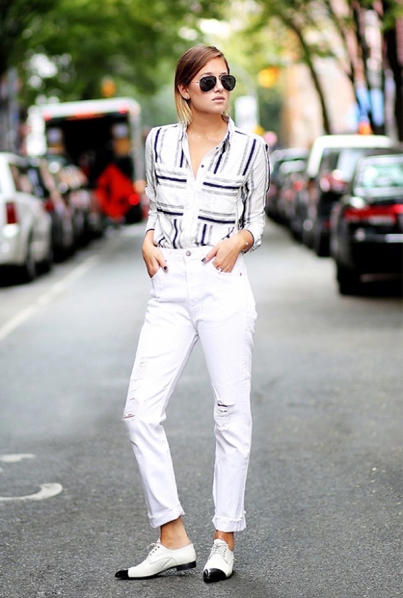 white-jeans-cuffed-rolled-jeans-distressed-white-denim-oxfords-striped-shirt-rustic-stries-black-and-white-via-we-wore-what
