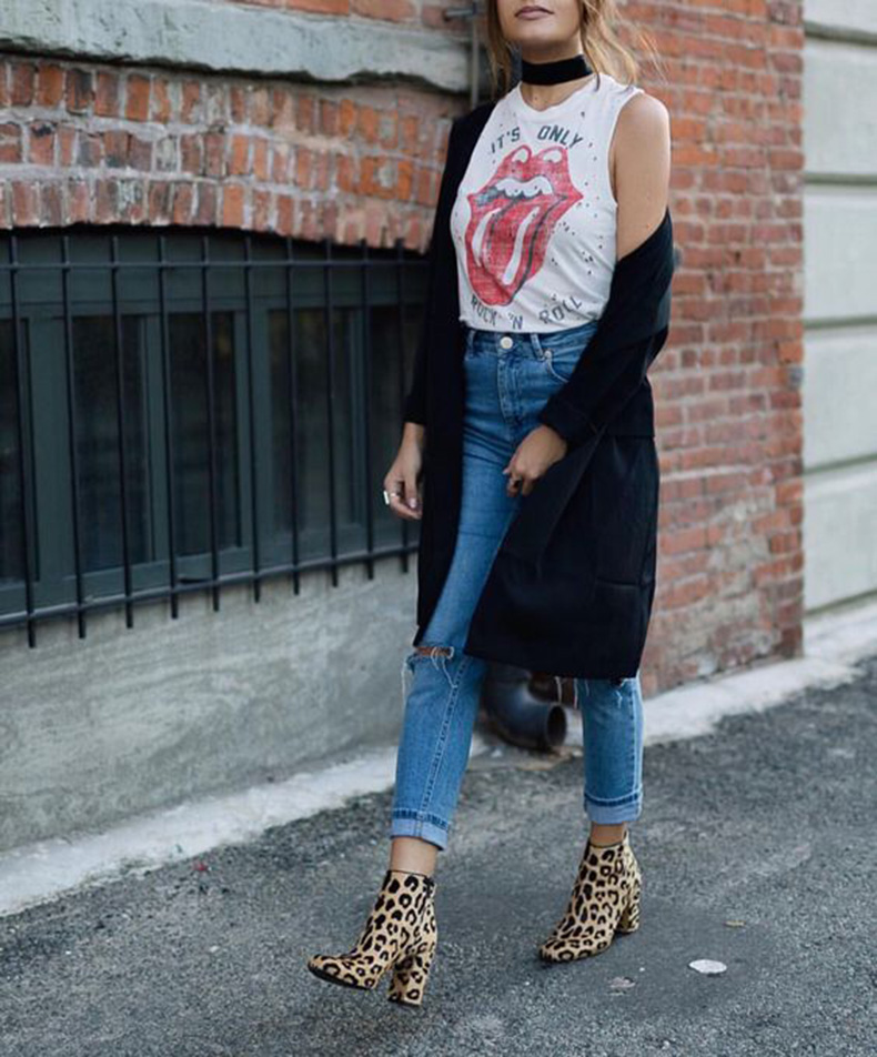 2832eeca76d2 Tuck a vintage rock band tee into some ripped jeans with statement booties  and you're sure to catch the eye of that cute guy in the hall.