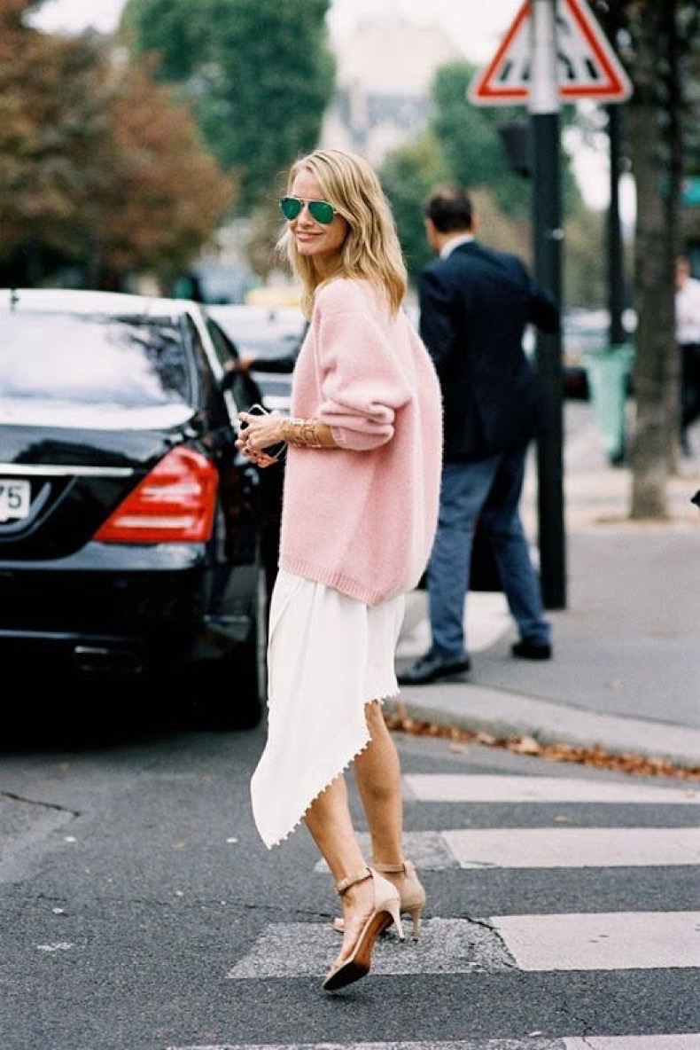 fall-pastels-fall-whites-pink-sweater-asymmetrical-white-skirt-ankle-strap-heels-aviator-sunglasses-via-stylecab-com_