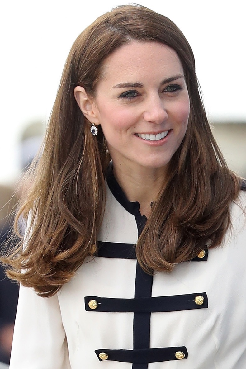 PORTSMOUTH, ENGLAND - MAY 20:  Catherine, Duchess of Cambridge, patron of the 1851 Trust, arrives at Land Rover BAR on May 20, 2016 in Portsmouth, England. The Duchess of Cambridge is launching the 1851 Trust's two sailing projects and meeting people involved in the project. Afterwards she will open the 'Tech Deck' Education Centre at the heart of the base.  (Photo by Chris Jackson/Getty Images)
