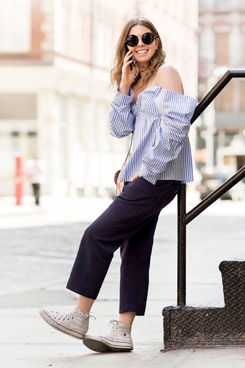 le-fashion-blog-street-style-round-sunglasses-striped-off-the-shoulder-top-cropped-trousers-high-top-converse-sneakers-via-garance-dore